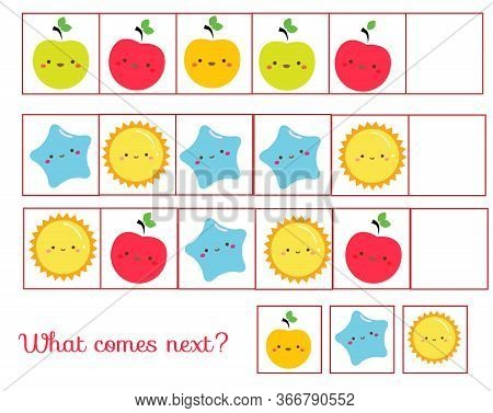 What Comes Next Educational Children Game. Kids Activity Sheet, Continue The Row Of Cute Symbols
