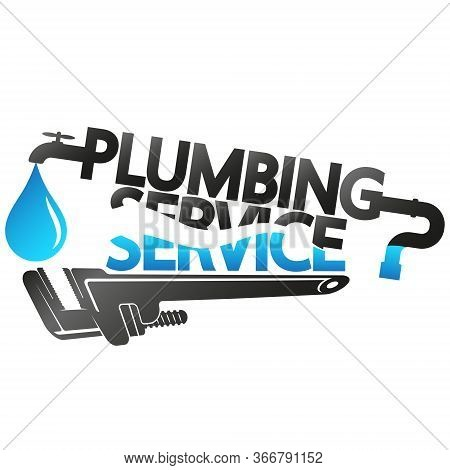 Plumbing Service And Repair Symbol With Water Drop And Wrench