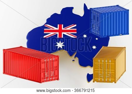 3d Map Of Australia. Freight Shipping In Containers. Export From The Country In Containers. 3d Rende