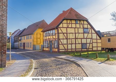 Colorful Half Timbered Houses In Butzow, Germany