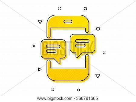 Mobile Chat Sign. Phone Message Icon. Conversation Or Sms Symbol. Yellow Circles Pattern. Classic Ph