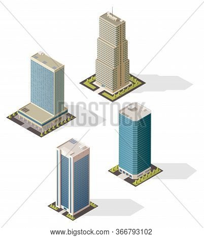 Isometric Skyscraper Buildings 3d Vector Icons. Isolated Modern City Business Office Centers. Urban