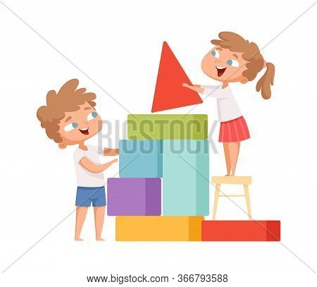 Kids Playing. Happy Children Build Colorful Cubes Home. Isolated Cartoon Babies With Toys Vector Ill