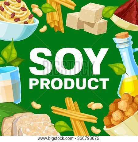 Soy Products And Soybean Food. Vector Miso Paste, Tofu Cheese And Milk, Oil, Meat Or Skin And Sprout