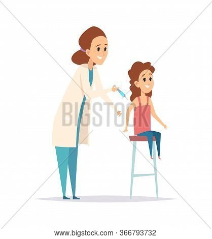 Vaccination. Flu Virus Protection, Nurse Syringe. Cartoon Little Girl And Pediatrist. Children Disea