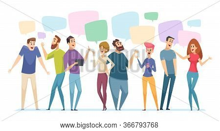 People Conversation. Speech Bubble On Communication Persons Dialogue Visualization Vector Talk Conce