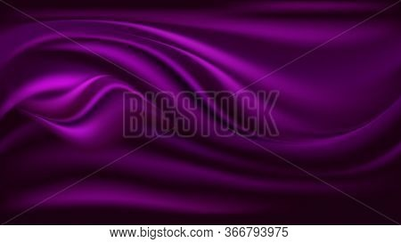Purple Satin Wavy Background. Silk Fabric Texture, Waves And Swirl Drapery. Abstract Pattern, Vector