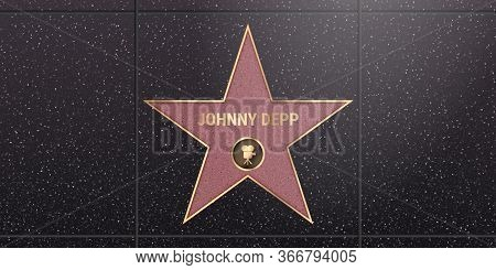 Warsaw, Poland May 17, 2020. Hollywood Star On Celebrity Walk Of Fame Boulevard. Johnny Depp Iconic