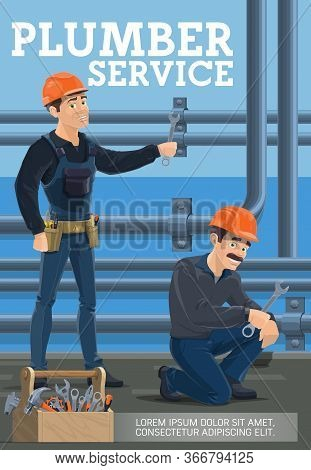 Plumbers Service, Heating Pipes Replacement. Vector Poster Of Workers With Spanners Repairing Leakag