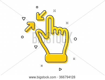 Zoom Out Sign. Touchscreen Gesture Icon. Action Arrows Symbol. Yellow Circles Pattern. Classic Touch