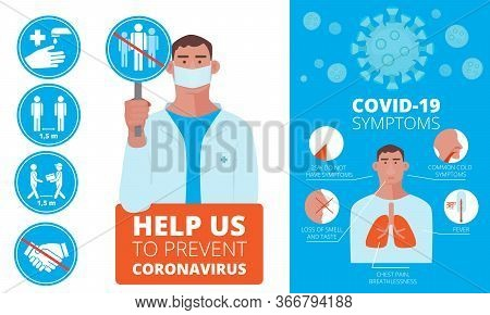 Ncov Infographic. Symptoms And Prevention Medical Warnings Allergy Ncov Vector Illustrations. Medica