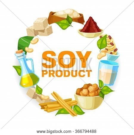Soy And Soybean Products, Vector Soya Food. Vegetarian Or Vegan Nutrition Miso Paste, Tofu, Soybean