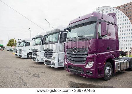 Minsk, Belarus 21.09.2019: Sale Of New Mercedes Actros Trucks At A Car Dealership
