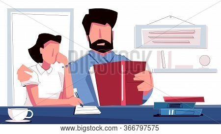 Dad Lesson Flat Composition With Human Character Of Father Giving Lesson To His Daughter With Books