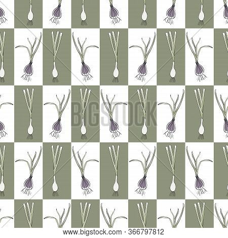 Vector Vegetables Onions Shallots On White Green Squares Seamless Repeat Pattern. Background For Tex