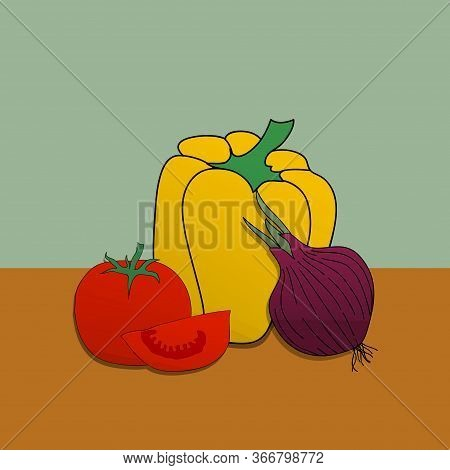 Illustration Of Hand Drawn Collection Of Vegetables With Yellow Pepper Red Tomatoes An One Onion Ove