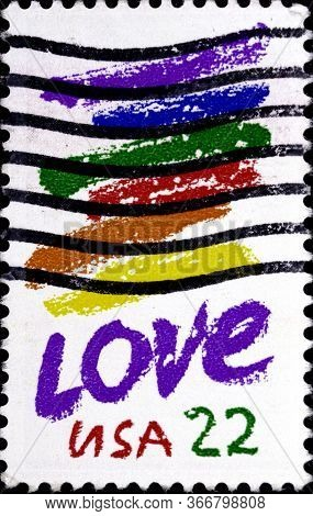 02 08 2020 Divnoe Stavropol Territory Russia Postage Stamp Usa 1985 Love Colorful Brush Strokes And