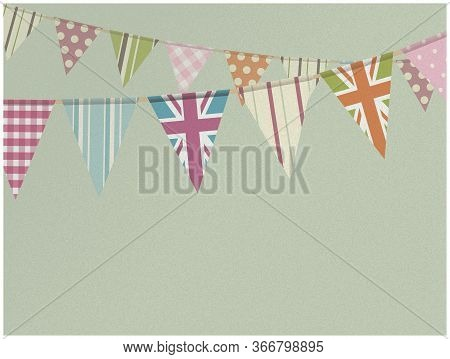 Copy Space Vintage Textured Green Background With Retro Decorated Bunting