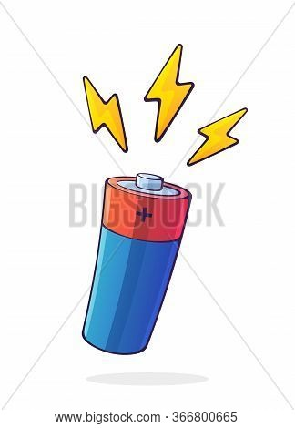 Alkaline Battery With Three Electric Lightning Symbols. Power Technology. Energy Accumulator With El