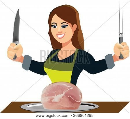 Woman Massaia Cook With Fork And Knife And Ham