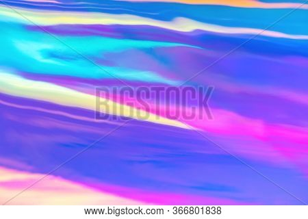 Blurred Texture In Violet, Pink And Mint Colors. Abstract Trendy Holographic Background In 80s Style