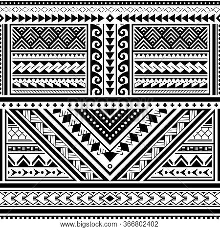 Polynesian Tattoo Seamless Vector Pattern, Hawaiian Tribal Design Inspired By Art Traditional Geomet