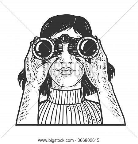 Girl Looking Through Binoculars Sketch Engraving Vector Illustration. T-shirt Apparel Print Design.