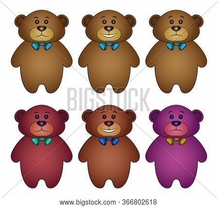 Set Cartoon Toy Teddy Bears, Funny And Sad, Isolated On White Background. Vector