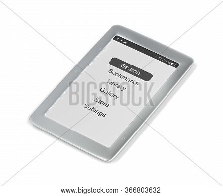Silver E-book Reader On White Background, 3d Illustration