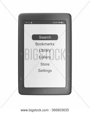 Front View Of E-book Reader, Isolated On White Background. 3d Illustration