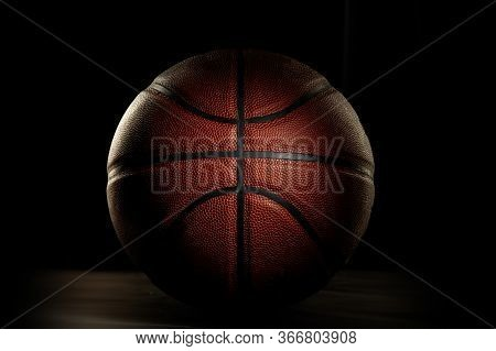Basketball Ball. Professional Sport Equipment Isolated On Black Studio Background. Concept Of Sport,