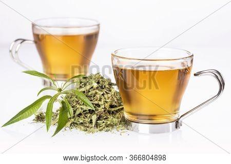Lemon Verbena Leaves And Verbena Tea. Aloysia Citrodora.