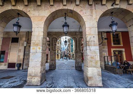 Gijon, Spain - January 25, 2019: San Bernardo Street Seen From Main Square Of Historic Part Of Gijon