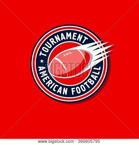 American Football Tournament Logo. American Football Emblem. Ball In The Circle With Letters. Footba