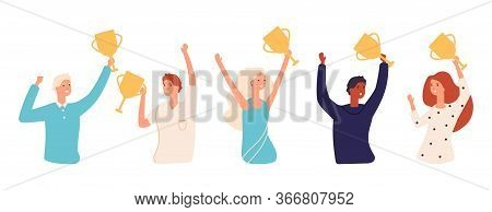 Winners With Cups. Golden Awards, People Holding Gold Cup. Successful Business Team, Woman Man Vecto