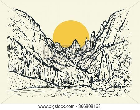 Hand Drawn Sketch Illustration With A Mountains, Trees And Yellow Sun. Nature Vintage Vector Landsca