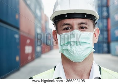 Transport Engineer Man Wearing Medical Face Mask For Prevention Coronavirus Epidemic Situation In Co