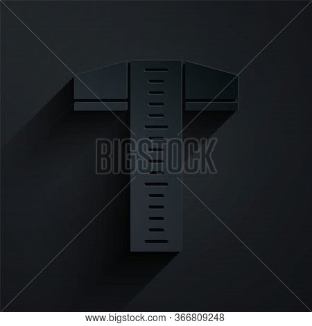 Paper Cut T-square Line For Professional Drafting Icon Isolated On Black Background. Paper Art Style