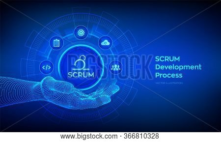 Scrum Icon In Robotic Hand. Agile Development Methodology Process. Iterative Sprint Methodology. Pro