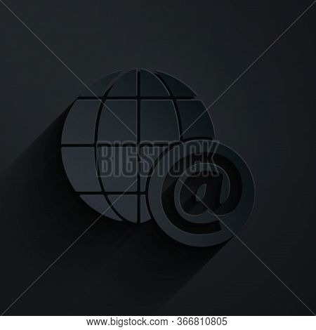 Paper Cut Earth Globe With Mail And E-mail Icon Isolated On Black Background. Envelope Symbol E-mail