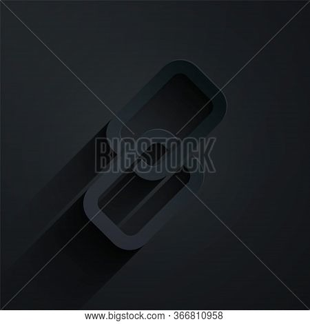 Paper Cut Chain Link Icon Isolated On Black Background. Link Single. Paper Art Style. Vector