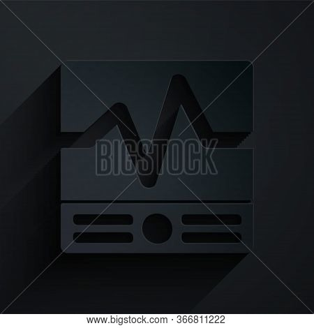 Paper Cut Electrical Measuring Instruments Icon Isolated On Black Background. Analog Devices. Electr