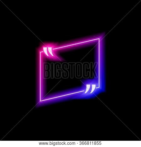 Vector Neon Gradient Blue And Pink Colorful Quote Frame Isolated On Black Background, Glowing Bubble