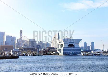 View of Yokohama city and Tokyo Bay, Kanagawa prefecture, Japan