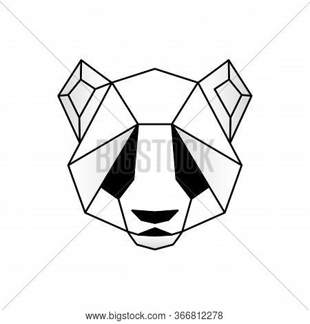 Panda Head Icon. Abstract Triangular Style. Contour For Tattoo, Logo, Emblem And Design Element. Han