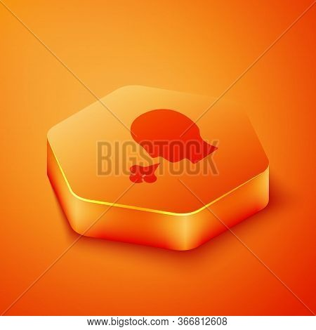 Isometric Man Coughing Icon Isolated On Orange Background. Viral Infection, Influenza, Flu, Cold Sym