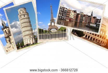Vintage travel background with retro photos of european landmarks. Eiffel tower in Paris, Leaning Tower of Pisa, Colosseum in Rome, old houses in Amsterdam. Isolated on white background