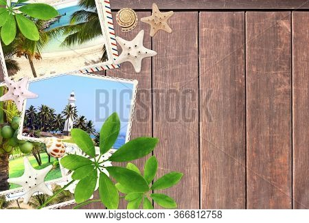 Vintage travel background with old wood planks texture, retro photos, postcard, green leaf, starfish and shell. Horizontal vacation backdrop with wooden boards. Mock up template. Copy space for text