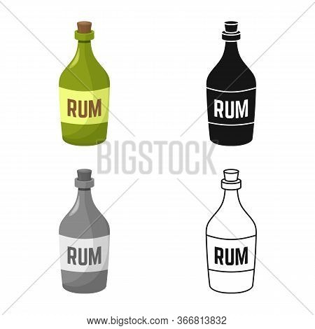 Vector Illustration Of Rum And Bottle Sign. Web Element Of Rum And Alcohol Stock Symbol For Web.