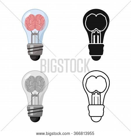 Vector Illustration Of Light And Brain Symbol. Graphic Of Light And Idea Vector Icon For Stock.